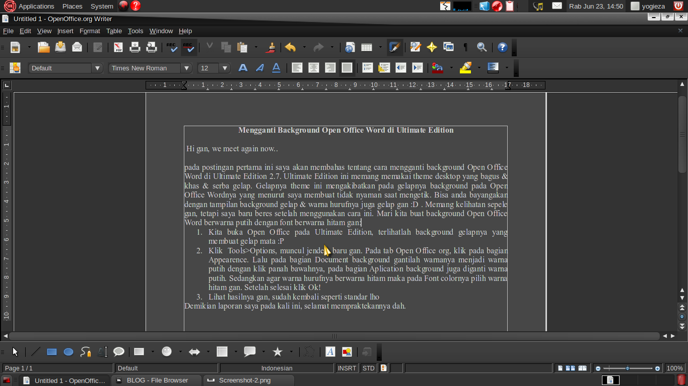 Kita buka Open Office pada Ultimate Edition, terlihatlah background ...