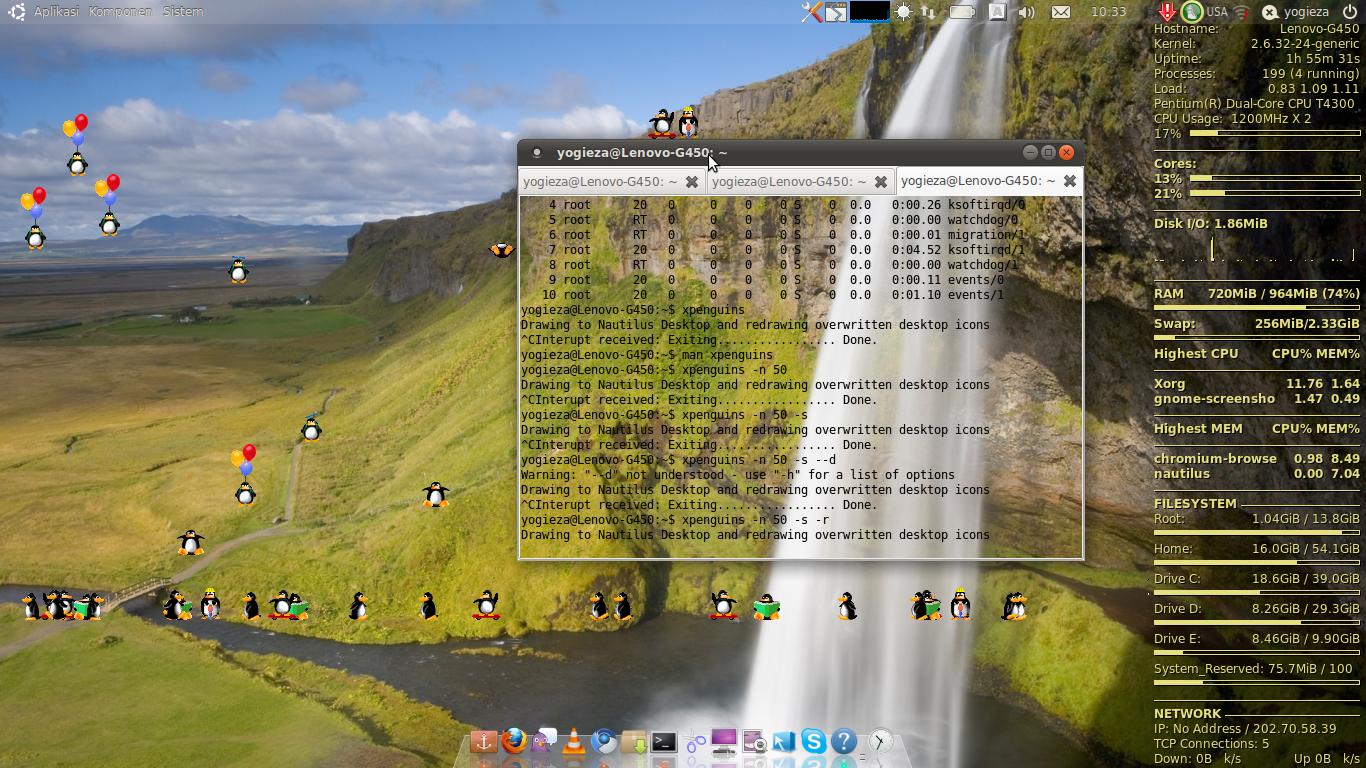 XpenguinsAnimasi Penguin Lucu Di Ubuntu